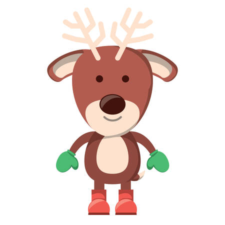 cute deer with boots and gloves over white background. Christmas animals concept. colorful design. vector illustration