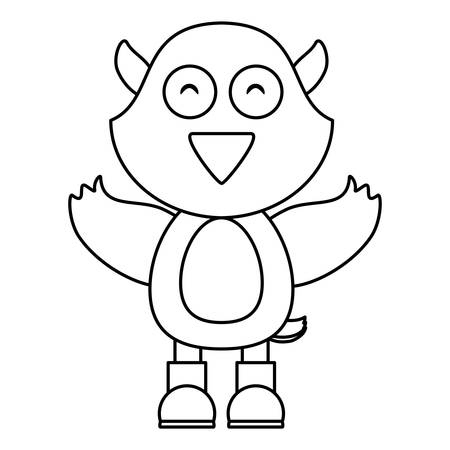 cartoon bird waving and wearing boots over white background, vector illustration
