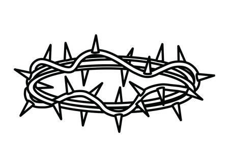 crown of thorns icon over white background, vector illustration