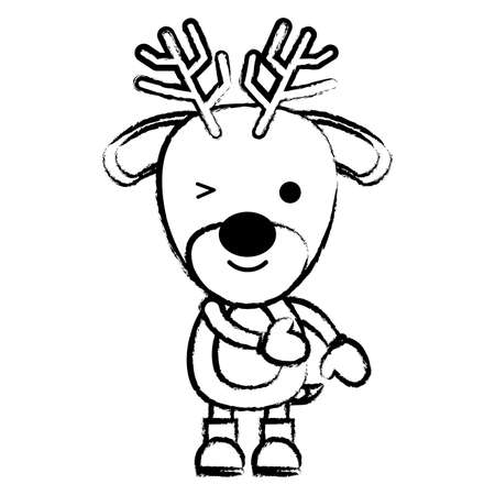 sketch of cute deer with boots and gloves over white background, vector illustration Vettoriali