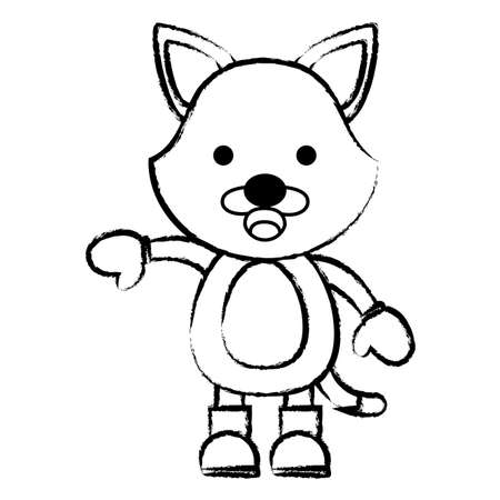 sketch of cute fox with boots and gloves over white background. christmas animals concept. vector illustration Illustration