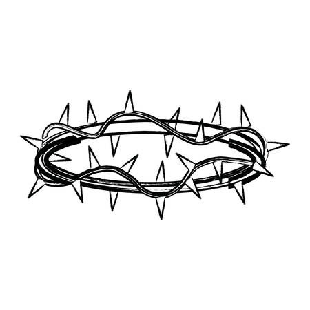 A sketch of crown of thorns icon over white background, vector illustration