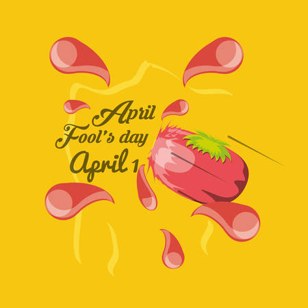 April fools day design with squashed tomato  icon over yellow background, colorful design vector illustration