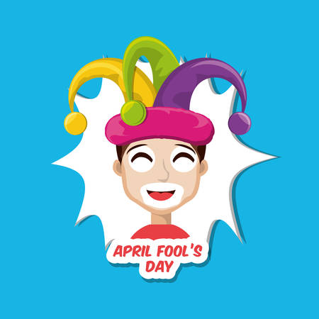 April fools day design with cartoon boy with jester hat icon over blue background, colorful design vector illustration Ilustração
