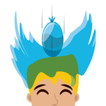 April fools day design with water balloon splashed on  man head over white background, colorful design vector illustration