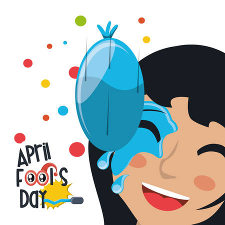 April fools day design with water balloon splashed on woman face icon over background, colorful design vector illustration