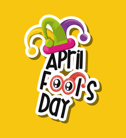 April fools day design with jester hat icon over yellow background, colorful design vector illustration