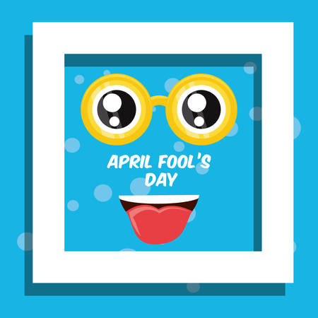April fools day design with decorative white frame and comic face showing the tongue icon over blue background, colorful design vector illustration