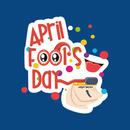 April fools day design with calendar  icon over blue background, colorful design vector illustration