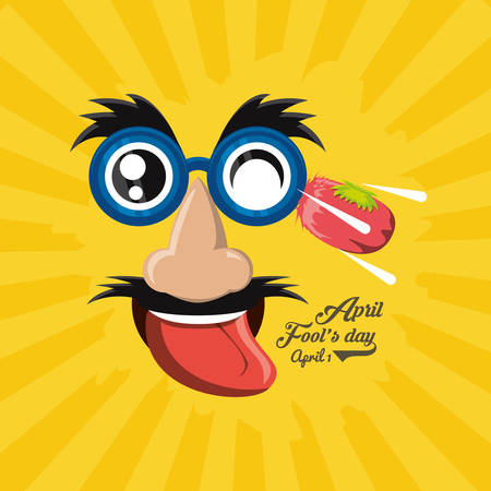 April fools day design with comic face and squashed tomato  icon over yellow background, colorful design vector illustration Çizim
