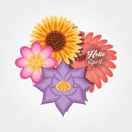 Hello april design with beautiful flowers icon over white background, colorful design vector illustration Illustration