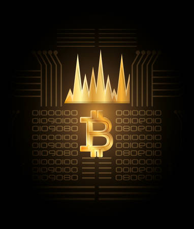golden bitcoin symbol and graphic chart  over black background, colorful design vector illustration Illustration