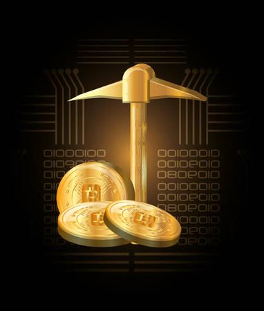 golden pickaxe and bitcoin coins icon over black background, colorful design vector illustration Vettoriali