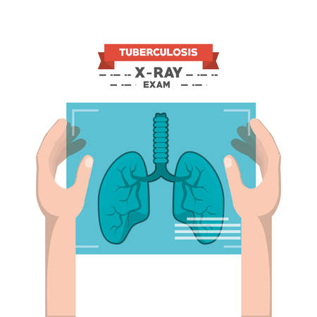 Hands holding lungs x-ray film over white background, colorful design vector illustration
