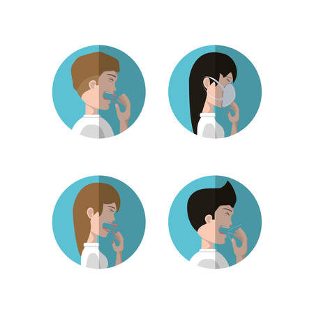 Tuberculosis design with icon set of people with the symptoms over white background, colorful design vector illustraiton