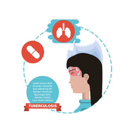 Tuberculosis infographic design with medical pills and lungs with woman with fever over white background, colorful design vector illustration
