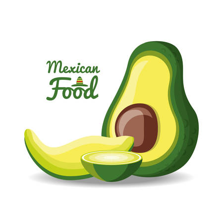 Mexican cuisine dish made with avocado vector illustration graphic design