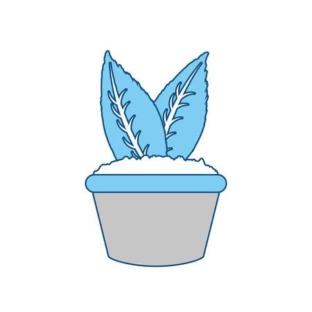 flat line colored flowerpot  over white background  vector illustration