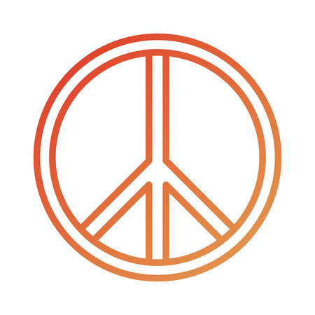 flat line colored peace symbol over white background  vector illustration Illustration