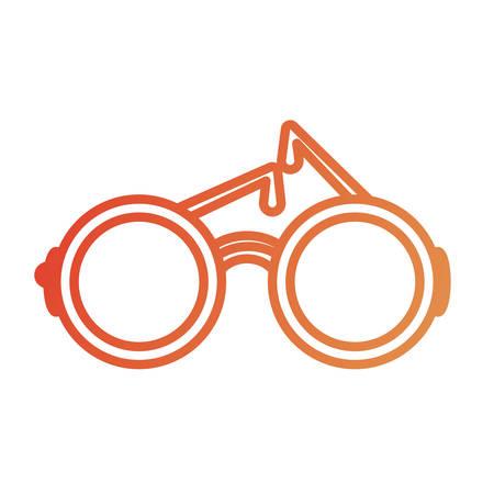 Flat line colored glasses over white background vector illustration