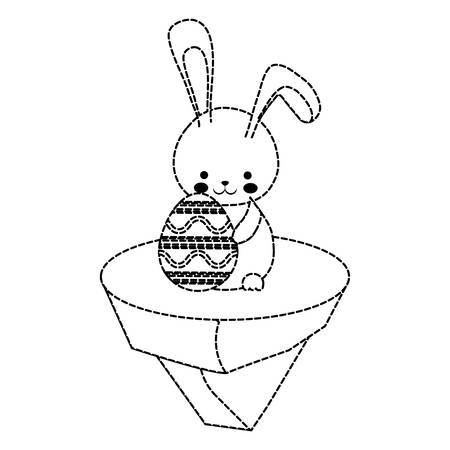 uncolored  rabbit  with  easter egg   sticker over  white background  vector illustration