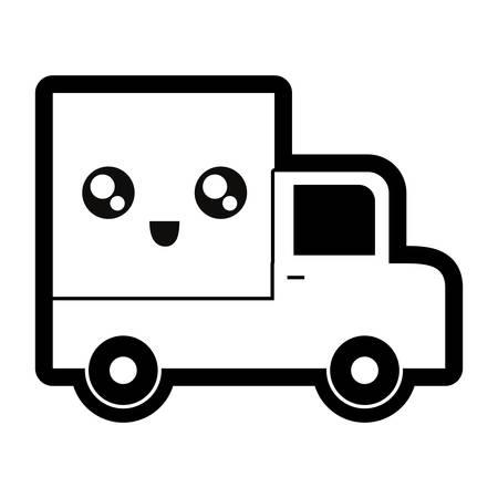 flat line monocromatic mini truck over white background vector illustration