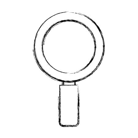 flat line  uncolored magnifiying glass over white  background  vector illustration Illustration