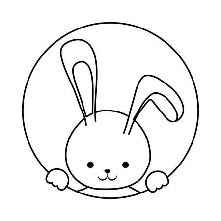 uncolored silhouette  rabbit over white background vector illustration