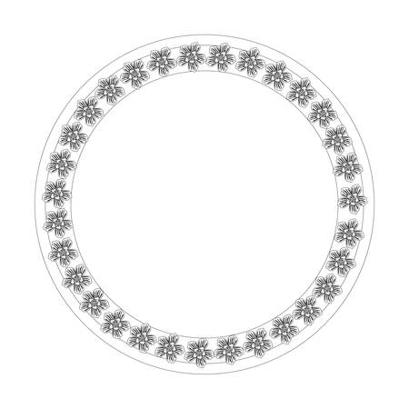 circular frame with decorative flowers over white background vector illustration Illustration