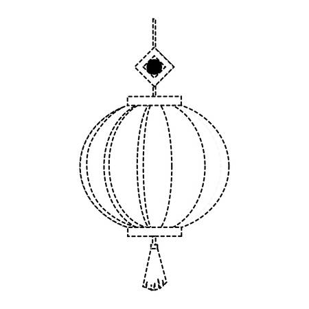 Chinese decorative lantern icon over white background vector illustration