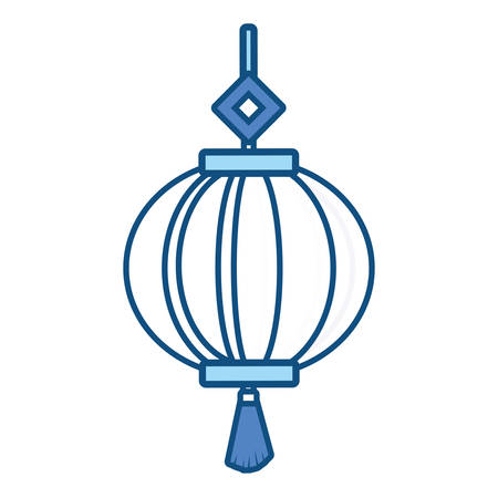 Chinese decorative lantern icon over white background colorful design vector illustration