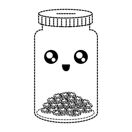 flat line uncolored  kawaii jar coin  bank  with  coins  sticker  vector illustration Vettoriali