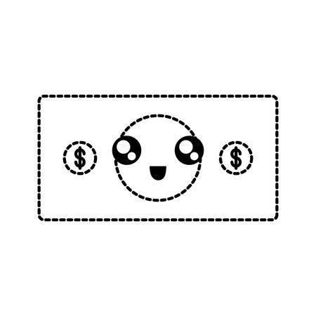 flat line uncolored kawaii bill  sticker over white background  vector illustration Ilustração