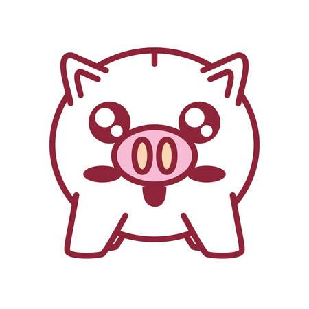flat line colored kawaii piggybank over white background  vector illustration Illustration