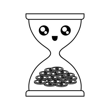 flat line uncolored hourglass with coins over white background vector illustration