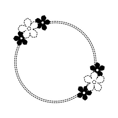 circular frame with decorative flowers over white background, black and white design vector illustration
