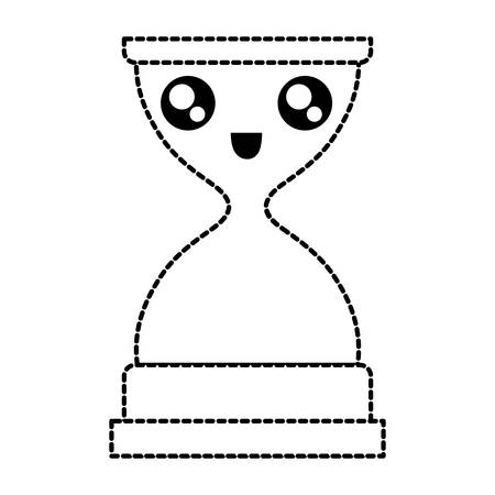 flat line uncolored hourglass over white background vector illustration Иллюстрация