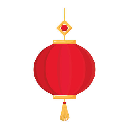 decorative  red and gold  pendant  over white background  vector ilustration  Illustration