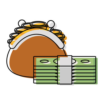 coin purse and wad of bills over white background colorful design vector illustration