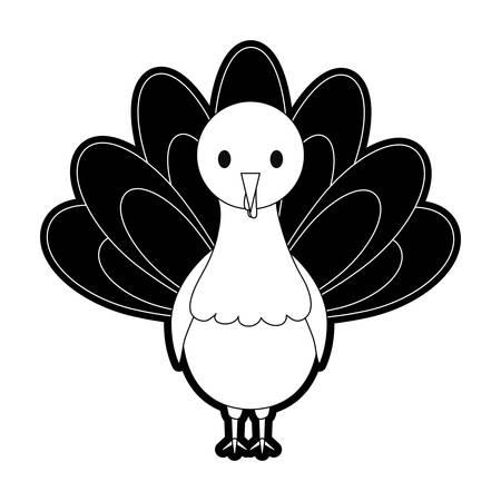 flat line monochromatic turkey  thanksgiving over white  background vector illustration