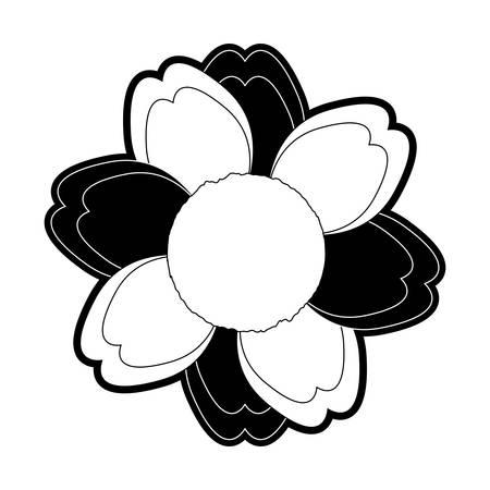 flat line monochromatic  flower over white background vector illustration Illustration