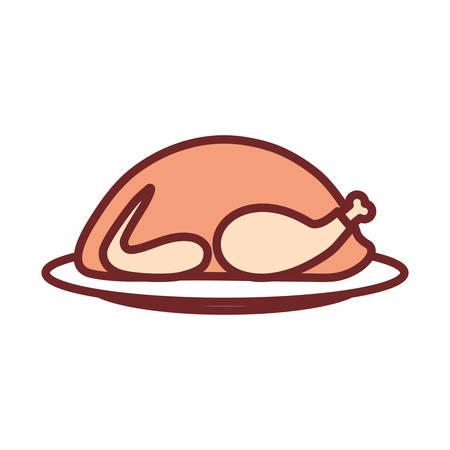 flat line colored  roast turkey over white background vector illustration Illustration