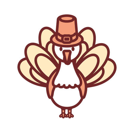 flat line colored turkey  thanksgiving over white  background vector illustration