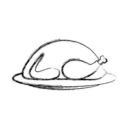 flat line uncolored  roast turkey over white background vector illustration
