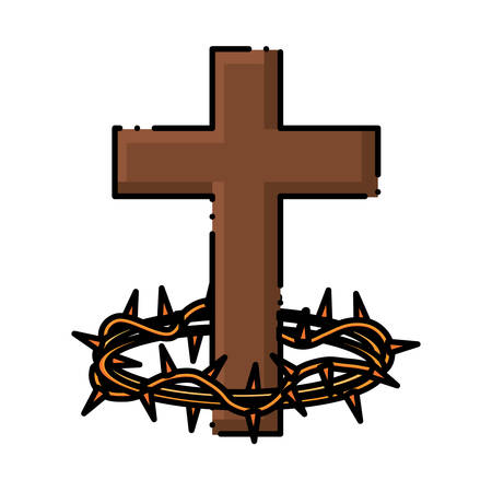 Catholic Cross and crown of thorns icon over white background, colorful design . vector illutration