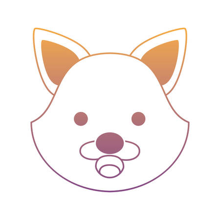 Cute fox faceicon over white background, colorful design. vector illustration