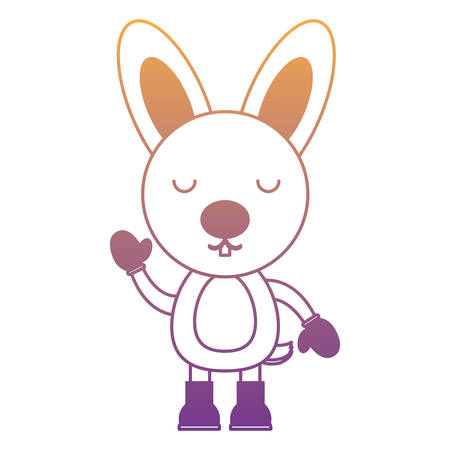 cute rabbit with boots and gloves over white background. christmas animals concept. colorful design. vector illustration