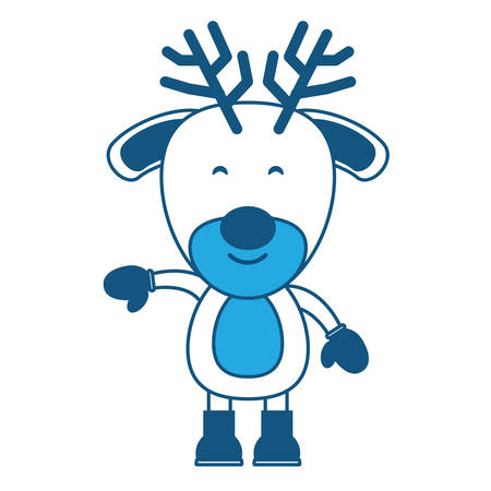 cute deer with boots and gloves over white background, blue shading design. vector illustration Illustration