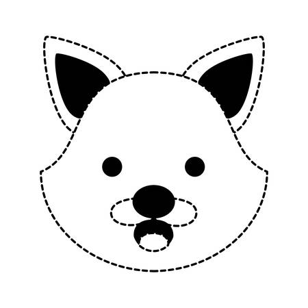 cute fox faceicon over white background, vector illustration