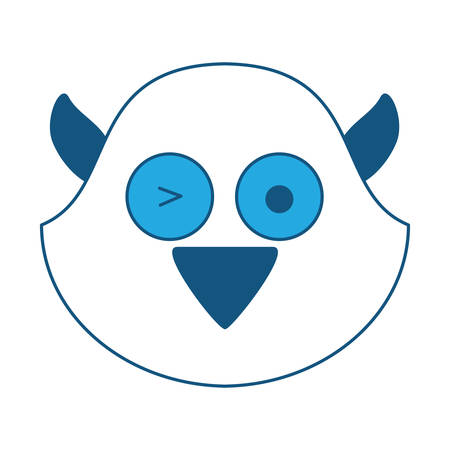 cute bird face icon over white background, blue shading design. vector illustration Illustration